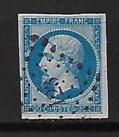 "FR YT 14B "" Napoléon III 20c. Bleu "" 1860 PC 123 ARGENTEUIL - 1853-1860 Napoleon III"
