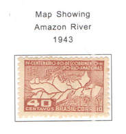 Brasile PO 1943 Map Amazon River Scott.607 See Scan On Scott.Page - Brasile