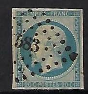 "FR YT 14Af "" Napoléon III 20c. Bleu Laiteux "" 1860 PC 583 CALAIS - 1853-1860 Napoleon III"