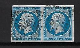"""FR YT 14A Paire """" Napoléon III 20c. Bleu """" 1860 PC 2128 MONTPELLIER - 1853-1860 Napoleon III"""