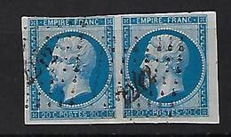 """FR YT 14B Paire """" Napoléon III 20c. Bleu """" 1860 PC 2242 NEUFCHATEAU - 1853-1860 Napoleon III"""