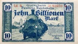 Notgeld Deutsche Reichsbahn Karlsruhe  10 Billionen Mark  1923 - Bankfrisch - 10 Billionen Mark