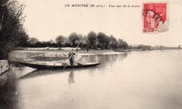 La Ménitré Animée Belle Vue De La Loire Barque Batellerie Carte RARE - Other Municipalities