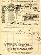 PARIS.PAPIERS EN GROS POUR LE DESSIN.FABRIQUE DE CARTES & BRISTOLS.TOCHON-LEPAGE 3 RUE DES DEUX BOULES. - Imprimerie & Papeterie