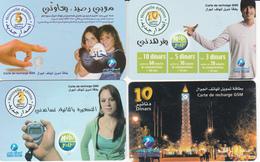 4 Cartes Prépayées TUNISIE Lot5 - Tunisie