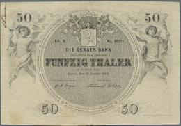 Deutschland - Altdeutsche Staaten: Sehr Seltene Banknote Zu 50 Thaler 1856 Geraer Bank PR A369, Gebr - [ 1] …-1871 : Stati Tedeschi