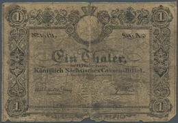 Deutschland - Altdeutsche Staaten: Königlich Sächsisches Cassen-Billet 1 Thaler 1840, PiRi A388 In S - [ 1] …-1871 : Stati Tedeschi