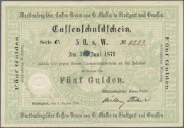Deutschland - Altdeutsche Staaten: Württemberg, Cassen-Verein Von G. Müller In Stuttgart, 5 Gulden, - [ 1] …-1871 : Stati Tedeschi