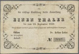 Deutschland - Altdeutsche Staaten: Cöthen (Anhalt), Dr. Arthur Lutze Anweisung 1 Thaler Einlösbar Bi - [ 1] …-1871 : Stati Tedeschi
