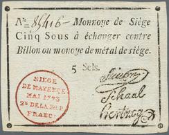 Deutschland - Altdeutsche Staaten: Mainz, Belagerungsgeld 5 Sous 1793, PiRi A594, Leichter Mittelkni - [ 1] …-1871 : Stati Tedeschi