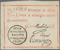 """Deutschland - Altdeutsche Staaten: Mainz, Belagerungsgeld 3 Livres 1793 Mit Serie """"B"""", PiRi A600 In - [ 1] …-1871 : Stati Tedeschi"""