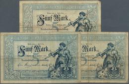 """Deutschland - Deutsches Reich Bis 1945: Set Aus Drei Noten """"Ritter"""" 5 Mark 1882 Ro 6, Alle Noten In - [ 4] 1933-1945 : Terzo  Reich"""