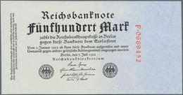Deutschland - Deutsches Reich Bis 1945: 500 Mark 1922 Mit Roter Kennummer Ro. 71a In Kassenfrischer - [ 4] 1933-1945 : Terzo  Reich