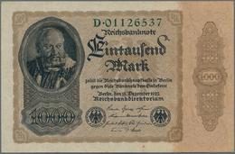 """Deutschland - Deutsches Reich Bis 1945: 1000 Reichsmark 1922 """"Reichsdruck"""" Ro 81ac, In Erhaltung: AU - [ 4] 1933-1945 : Terzo  Reich"""
