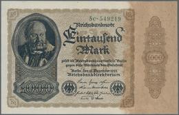 Deutschland - Deutsches Reich Bis 1945: 1000 Mark 1922, Firmendruck FZ: C, Kassenfrisch - [ 4] 1933-1945 : Terzo  Reich