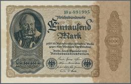 """Deutschland - Deutsches Reich Bis 1945: 1000 Mark 1922, Ro.81b Mit Firmenzeichen """"B"""" Und 6-stelliger - [ 4] 1933-1945 : Terzo  Reich"""