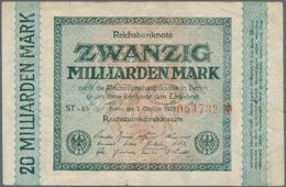 Deutschland - Deutsches Reich Bis 1945: Set Mit 3 Noten, Dabei 1 Milliarde Mark 1923 Nur Unterdruck - [ 4] 1933-1945 : Terzo  Reich
