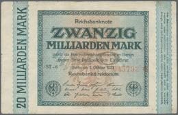 Deutschland - Deutsches Reich Bis 1945: 20 Milliarden Mark 1923, Fehldruck - Wertzeile Links, Ro.F11 - [ 4] 1933-1945 : Terzo  Reich