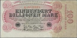 Deutschland - Deutsches Reich Bis 1945: 100 Billionen Mark 1923 Ro 125a, Leicht Verschobener Druck, - [ 4] 1933-1945 : Terzo  Reich