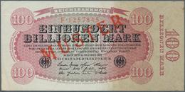 Deutschland - Deutsches Reich Bis 1945: 100 Billionen Mark 1923, Ro.125M Mit Rotem Aufdruck MUSTER U - [ 4] 1933-1945 : Terzo  Reich