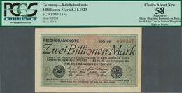 Deutschland - Deutsches Reich Bis 1945: 2 Billionen Mark 1923, Ro.132a, Klebereste Auf Der Rückseite - [ 4] 1933-1945 : Terzo  Reich