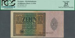 Deutschland - Deutsches Reich Bis 1945: 10 Billionen Mark 1924, Ro.134, Stärker Gebraucht Mit Gekleb - [ 4] 1933-1945 : Terzo  Reich