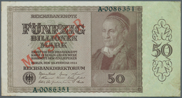 Deutschland - Deutsches Reich Bis 1945: 50 Billionen Mark 1924 Mit Regulärer Seriennummer Und Rotem - [ 4] 1933-1945 : Terzo  Reich