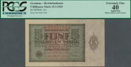 Deutschland - Deutsches Reich Bis 1945: 5 Billionen Mark 1924, Ro.138, Mittelknick Und Kleiner Fleck - [ 4] 1933-1945 : Terzo  Reich