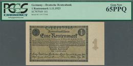 Deutschland - Deutsches Reich Bis 1945: 1 Rentenmark 1923, Ro.154a In Kassenfrischer Erhaltung, PCGS - [ 4] 1933-1945 : Terzo  Reich