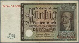 Deutschland - Deutsches Reich Bis 1945: Deutsche Rentenbank, Set Mit 4 Banknoten 1, 2 Und 5 Rentenma - [ 4] 1933-1945 : Terzo  Reich
