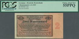 Deutschland - Deutsches Reich Bis 1945: 2 Rentenmark 1923, Ro.155, Winzige Knickstellen Am Rechten R - [ 4] 1933-1945 : Terzo  Reich