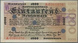 Deutschland - Deutsches Reich Bis 1945: 1000 Rentenmark 1923, Ro.161 Mit Mehreren Entwertungslöchern - [ 4] 1933-1945 : Terzo  Reich