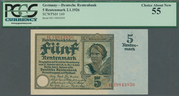 Deutschland - Deutsches Reich Bis 1945: 5 Rentenmark 1926, Ro.164b, Kleine Flecken Am Oberen Rand, P - [ 4] 1933-1945 : Terzo  Reich