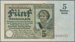 """Deutschland - Deutsches Reich Bis 1945: 5 Rentenmark 1926 """"Bauernmädchen"""", Ro.164b, Minimaler Mittel - [ 4] 1933-1945 : Terzo  Reich"""