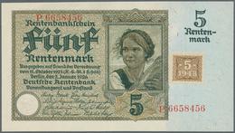 Deutschland - Deutsches Reich Bis 1945: 5 Rentenmark 1926 Mit Marke Von 1948 Ro 332a, In Erhaltung: - [ 4] 1933-1945 : Terzo  Reich