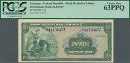 Deutschland - Bank Deutscher Länder + Bundesrepublik Deutschland: 20 DM 1949, Ro.260 In Kassenfrisch - [ 7] 1949-… : RFA - Rep. Fed. Tedesca
