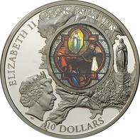 "Cook Inseln: WINDOWS OF HEAVEN: Obere Basilika Lourdes ""Erscheinungsfenster"", 10 Dollars 2013, 50 G, - Islas Cook"