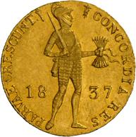 Niederlande - Anlagegold: Willem I. 1815-1840: 1 Dukat 1837 Utrecht. Stehender Ritter Mit Geschulter - [ 8] Gold- & Silbermünzen