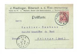 Timbre Perfore Sur Carte De Correspondance Commerciale - BIBERACH Wurttemberg - Germany