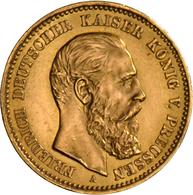 Preußen: Friedrich III. 1888: 10 Mark 1888 A, Jaeger 247, 3,99 G, 900/1000 Gold, Vorzüglich. - Goldmünzen