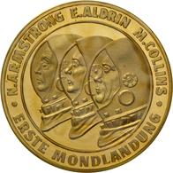 Medaillen Deutschland: Raumfahrt -1. Mondlandung 1969: Lot 4 Stück; Goldmedaille 1969, Gold 986/1000 - Germany