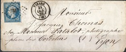 ANCIENNE ENVELOPPE NAPOLEON N 14 DE TARARE POUR LYON M PATALOS LSC 1859 !!!!!!!!! - 1853-1860 Napoléon III