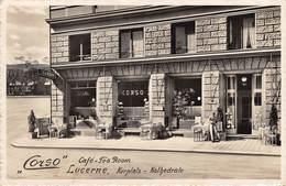 """CPA  Suisse, LUCERNE / LUZERN, """" Corso """" Cafe, Tea Room,  Kurplatz, Kathedrale, Carte Photo - LU Lucerne"""
