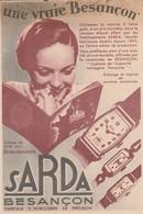 Doubs : BESANCON : SARDA : (fabrique D'orlogerie De Précision  ) Carte Pub. - Besancon