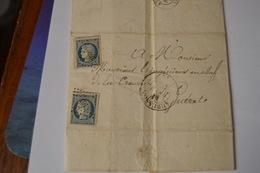 LETTRE AVEC TIMBRE CÉRES 25C BLEU N°4. CAD GUERET 12 FEV 53(22) . CAD AUBUSSON 12 FEV 1853. - Postmark Collection (Covers)