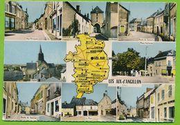 LES AIX-d'ANGILLON Multivues Blason Citroen Rosalie 2CV Simca Ariane Aronde Autos Photo Véritable Circulé 1964 - Les Aix-d'Angillon