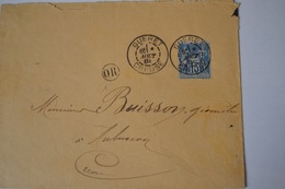 LETTRE AVEC TIMBRE TYPE SAGE 15C BLEU N°1015II)CAD TYPE 17.GUERET 6I 6 AOUT 88 CREUSE .OR ; - Postmark Collection (Covers)