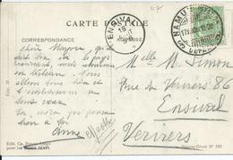 Fantasiekaart  Met OCB 83 - Brugstempel NAMUR(STATION) / DEPART- COBA 8 - 1893-1907 Wapenschild