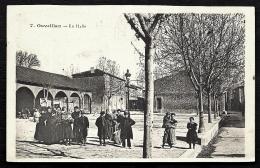 CPA ANCIENNE FRANCE- OUVEILLAN (11)- LA HALLE  ET LA PLACE EN HIVER TRES BELLE ANIMATION GROS PLAN - France