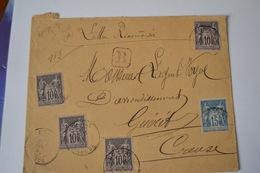 LETTRE  RECOMMANDÉE AVEC TIMBRE TYPE SAGE 15C BLEU N° 90 ET10C N89.CAD BONNAT 19AVRIL 92 CREUSE - Postmark Collection (Covers)